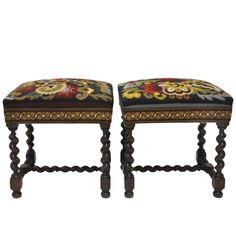 Pair of Louis XIII Antique Walnut Barley Twist Stools with Needlepoint Tapestry Victorian Furniture, French Furniture, Antique Furniture, Jacobean, Antique Chairs, Interior Design Companies, Furniture Styles, Ottomans, Benches