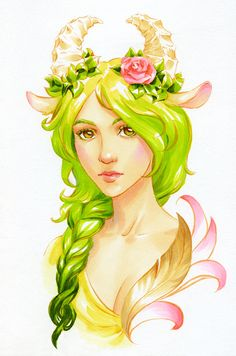 green_kosa_by_kir_tat.jpg (500×756)