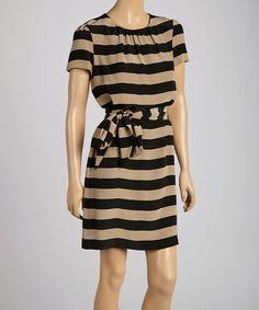 Another great find on #zulily! Black & Sand Stripe Waist-Tie Shift Dress by Pippa #zulilyfinds