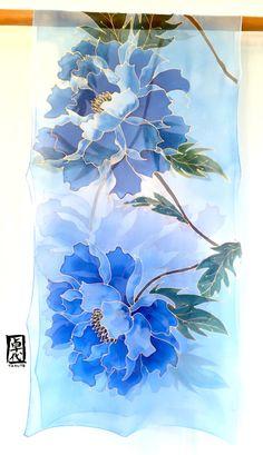 Scialle di seta dipinti a mano seta sciarpa blu sciarpa di