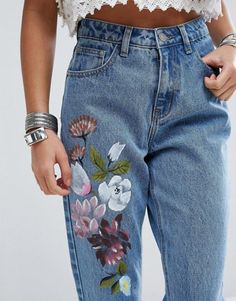 Painting On Denim Londiibusse Pee Boyfriend Jeans Pantalones Boyfriendjeans Blue