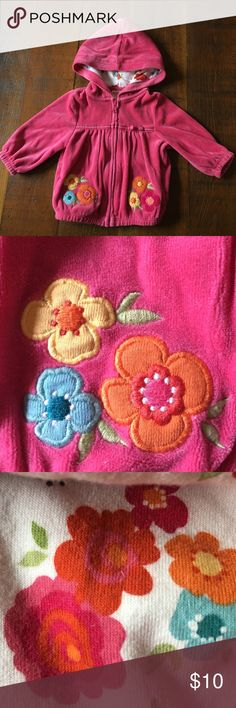 Velour Appliqué Hoodie Cozy pink floral appliqué baby zip-front hoodie.  Elastic at wrists and waist to keep your little one snug. Gymboree Shirts & Tops Sweatshirts & Hoodies
