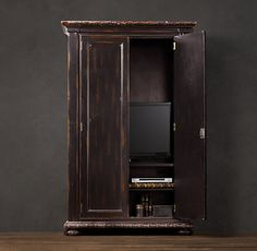 French Empire Armoire Antiqued Black