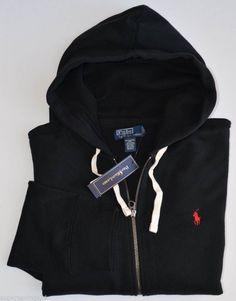 New 3XB 3XL BIG 3X POLO RALPH LAUREN Men Fleece Hoodie full zip sweatshirt black #PoloRalphLauren #Hoodie