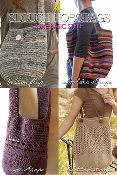 Needlecrafts - Crochet Marketbag, 4 Ways               Top Left Image |  free pattern here   Top Right Image |  original free pattern he...