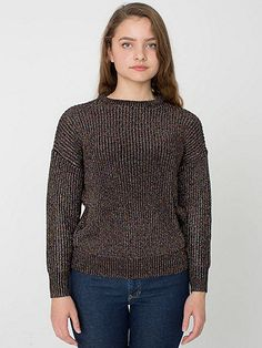 Black Opal  Metallic Fisherman's Pullover | American Apparel