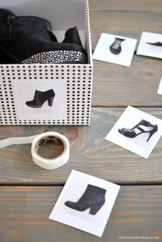 diy-shoe-storage - print out your Stylebook photos to label your boxes