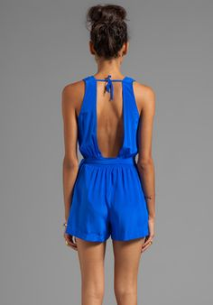 JAY GODFREY Helms Wrapped Romper w/ Open Back in Sapphire - Rompers & Jumpsuits