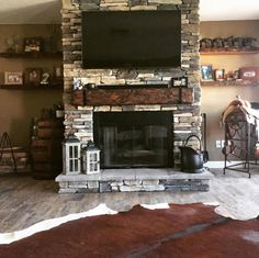 Rustic Fireplace Mantel with metal straps & bolts, Custom Made to Order, U pick or Custom size or Color - Fireplace Decor Rustic Fireplace Mantels, Fireplace Logs, Farmhouse Fireplace, Fireplace Remodel, Living Room With Fireplace, Fireplace Design, Custom Fireplace, Stone Fireplace Mantel, Mantles