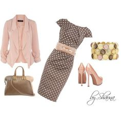 Brown/Polka-Dot Dress w/ Baby Pink Accessories...Classic yet, Sophisticated!