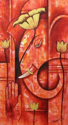 Buy Ganpati Handmade Painting by Ram Achal. - Paintings for Sale online in India. Lord Ganesha Paintings, Ganesha Art, Krishna Art, Ganesh Tattoo, Ganesha Drawing, Budha Painting, Canvas Art Quotes, Online Painting, Paintings Online