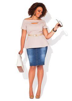 Ashley Stewart Off-the-Shoulder Peekaboo Peplum Top & Front Button Denim Skirt
