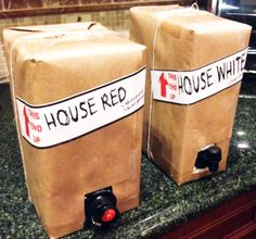 Wrap the wine like boxes for a house-warming party. Other great house-warming party ideas as well.