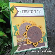 Sunflowers are the perfect way to say thinking of you at this time of year. Learn how to make these with the Eastern Medallion thinlits with my video tutorial! Paper Ribbon, Diy Paper, Paper Crafts, Craft Items, Fall Crafts, Sunflowers, Thinking Of You, Stampin Up, Congratulations