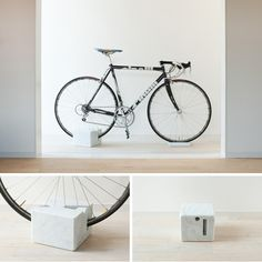 Milestone Marble Bike Stand by Mile Bike Storage Design, Bicycle Storage, Bicycle Stand, Bike Stands, Indoor Bike Rack, Velo Design, Bicycle Design, Commuter Bike, The Design Files