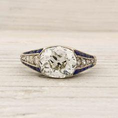 1.79 Carat Old Mine Cushion Cut Diamond Engagement Ring.