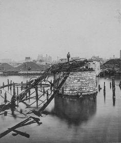 Van Buren St. Bridge after Chicago fire 1871