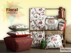 Make your #Home a prettier place to live in with our beautiful floral embroidered prints. Explore more on www.homesfurnishings.com #HomeDecor #HomeFabrics #Cushions #Furnishings #EmbroideryCollection #Upholstery #FloralCollection