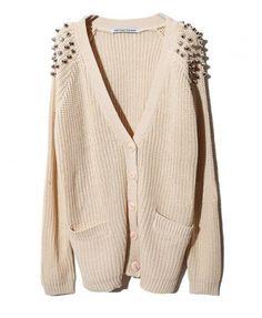 Beige Chunky Knitted V-neckline Cardigan with Rivet Embellished Shoulder