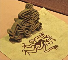 A monkey sello. The ancient craftsmen of Mesoamerica invented an early form of printing using sellos (seals) like this. This one shows a gesturing monkey. Sellos have been found everywhere from Teotihuacan (north of Mexico City), to the Maya city-states of the Yucatan and Guatemala.