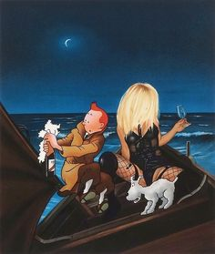 Buy Ole Ahlberg The Boat III. He is known for his unusual paintings of Tintin and Captain Haddock, who are portrayed next to nude and sexualized women. His series is highlighting a surrealist and poetic universe. Captain Haddock, Still Life Artists, Magazine Art, Art Market, Graphic Prints, Giclee Print, Pop Art, Champagne, Comic Books