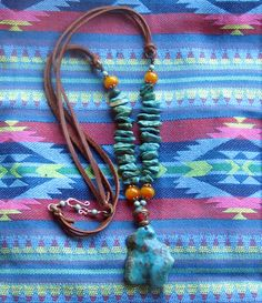 Turquoise Nugget Necklace Bohemian Jewelry by EponasCrystals on Etsy #EtsyCIJ