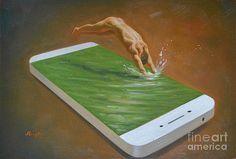 Hongtao     Huang - ORIGINAL OIL PAINTINGGAY MAN ART-MALE NUDE AND IPHONE-004