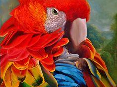 Bela pintura que retrata as cores da fauna brasileira com extrema riqueza de detalhes.