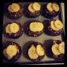 Chocolate banana cupcakes with chocolate frosting chopped walnuts and sliced bananas!