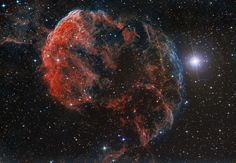 Drifting near bright star Eta Geminorum, at the foot of a celestial twin, the Jellyfish Nebula is seen dangling tentacles from the bright arcing ridge of emission left of center. In fact, the cosmic jellyfish is part of bubble-shaped supernova remnant IC 443, the expanding debris cloud from a massive star that exploded.