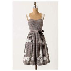 "Anthropologie Annona Dress Topped with contrast straps and cinched by a stripy sash, Edme & Esyllte's trompe l'oeil frock is abloom with florid ribbons.  Side pockets  Side zip  Cotton, cotton lining  Machine wash  38""L Anthropologie Dresses"