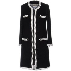 Moschino Couture Coat ($1,195) ❤ liked on Polyvore featuring outerwear, coats, black, long sleeve coat, moschino coat, single-breasted trench coats, boucle coat and moschino