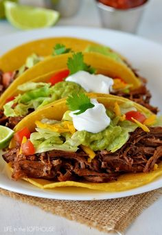Crock Pot Shredded Beef Tacos | Life In The Lofthouse Verdict: This was amazing! I am seriously dreaming about how I could turn this meat into yummy enchiladas!