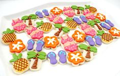 Little Luau cookies and where to buy cutters. Also: Cookies as Cupcake toppers! :)