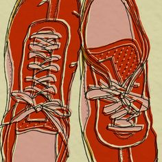 red running shoes - art