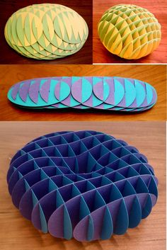 Sliceform Algebraic equations that are sliced into sections and made out of p. - Sliceform Algebraic equations that are sliced into sections and made out of paper. Origami Tattoo, Origami And Kirigami, Paper Crafts Origami, Cardboard Crafts, Origami Boxes, Karton Design, Sliceform, Paper Engineering, Origami Tutorial