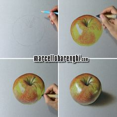 Marcello Barenghi: A shiny apple - drawing phases