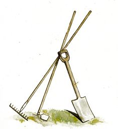 Gardening Tools Clip Art - Reusable Art. This image is copyright free and in the public domain anywhere that extends copyrights 70 years after death or at least 120 years after publication when the original illustrator is unknown.