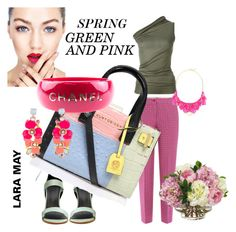 """SPRING  GREEN AND PINK"" by larisa55 on Polyvore featuring Etro, Rick Owens, TIBI, Kurt Geiger, Chanel, Accessorize, George J. Love and Diane James"