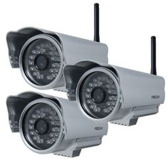Foscam FI8904W Outdoor Wireless/Wired IP Camera - 3 Pack by Foscam. $257.90. The Foscam FI8904W Wireless IP Camera features high quality video, waterproof and weather proof outdoor housing, remote internet viewing, motion detection, email notification, night-vision as well as a built in network video recording system. This camera has  24 IR LEDs providing night vision visibility up to 20 meters (65 ft.). It is smartphone compatible (iPhone, Android & Blackberry)...