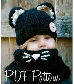 Knitting PATTERN-The Caitlynn Cat Set Toddler von Thevelvetacorn