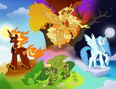 The four elements as alicorns