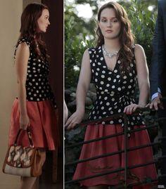 Blair's polka dot wrap top and red skirt on Gossip Girl season 6.  Outfit Details: http://wornontv.net/5350/ #GossipGirl