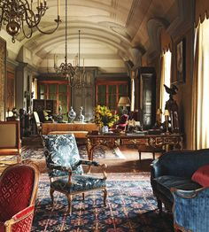 16th-century Chateau de Fleury, a French castle furnished with Louis XV and XVI antiques...