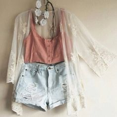 cardigan lace tumblr denim spring outfits denim shorts sheer flower crown flowers kimono floral crop tops cute shorts teenagers fashion boho chic summer summer outfits cropped light blue white cream light orange sweet blouse
