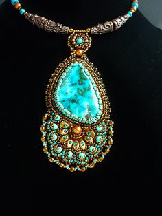 Necklace and earrings with chrysocolla and by JewelryElenNoel, $125.00