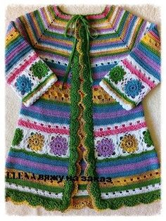 Ideas crochet granny square coat blankets for 2019 Crochet Coat, Crochet Jacket, Crochet Cardigan, Crochet Clothes, Crochet Granny, Baby Cardigan, Crochet Girls, Crochet For Kids, Mode Hippie