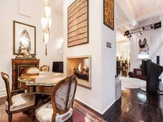 Stylish Edwardian terrace home in Melbourne. Love the two way fireplace