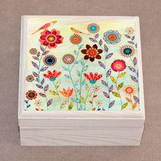 Birds and Flowers Jewelry Box Trinket Box Gift Box por Sascalia