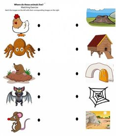 Free Printable Matching Animals To Their Home Worksheet 3 with regard to Animal Homes Crafts For Preschoolers. Read about craft ideas for children with more example Animal Activities For Kids, Animal Crafts For Kids, Preschool Learning Activities, Math For Kids, Kindergarten Worksheets, Preschool Activities, Free Worksheets For Kids, Animal Worksheets, English Worksheets For Kids